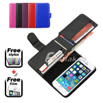 FLIP STAND LEATHER WALLET CARD ID CASE COVER POUCH For Apple iPhone 5 5S