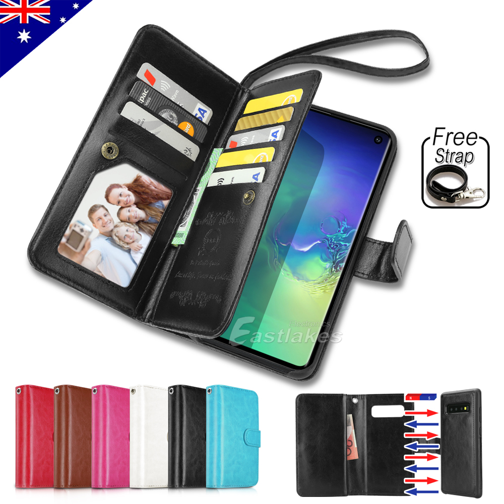 premium selection 030fd 944c8 Details about Flip Magnet Leather WALLET Case Cover for Samsung Galaxy S10  S9 S8 Plus Note 9 8