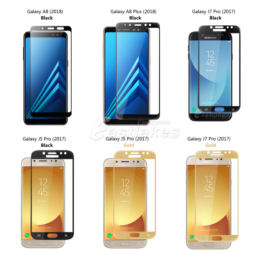 Full Coverage Tempered Glass Screen Protector Samsung Galaxy J5 J7 Cover Pro For 2017 A8 2018